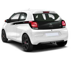White Citroen C1 - Side and rear view