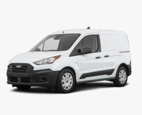 White Ford Transit Van - front and side view