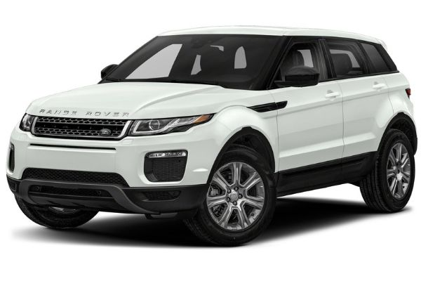 Front and side view of the Range Rover Evoque which is available for bad credit car lease