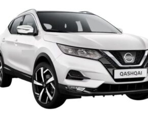 Front view of the Nissan Qashqai which is available for bad credit car lease