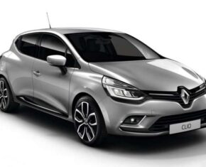 Front and side view of the Renault Clio which is available for bad credit car lease