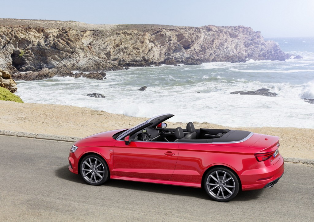 the new red Audi Convertible black roof model 2017