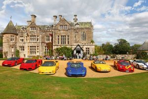 Beaulieu National Motor Museum - palace with cars in front