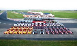 Fleet of cars at Bedford Autodrome Race Track