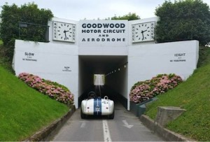Goodwood Race Track car going under bridge