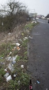 Litter on the side of a main road