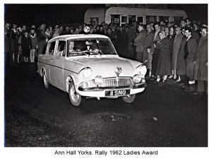 women racing drivers - Anne rallying a Ford Anglia, 1962