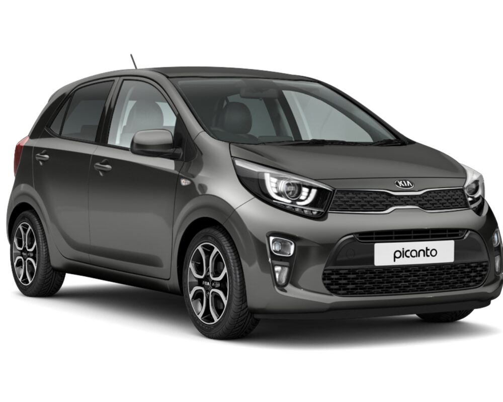 Front and side view of the Kia Picanto which is available for bad credit car lease