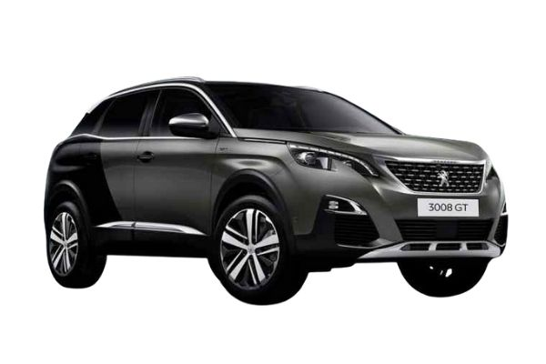 Front and side view of the Peugeot 3008 which is available for bad credit car lease
