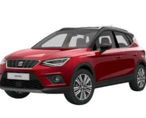 Front and side view of the Seat Arona which is available for bad credit car lease