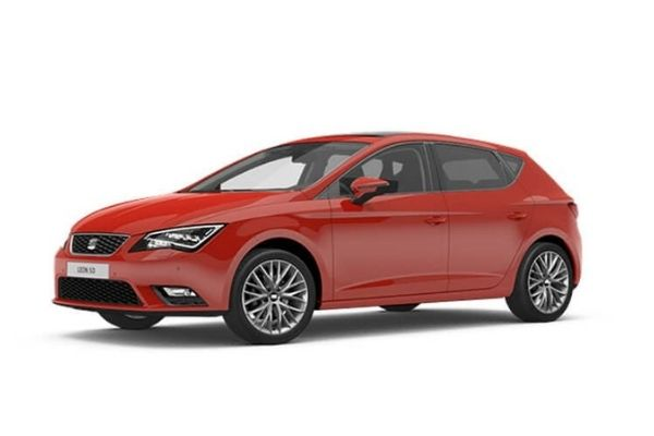 Front and side view of the Seat Leon which is available for bad credit car lease