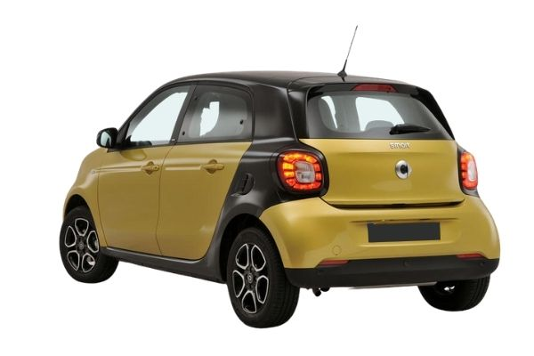 Rear and side view of the Smart ForFour which is available for bad credit car leasing