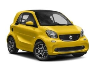 Front and side view of the Smart ForTwo which is available for bad credit car lease