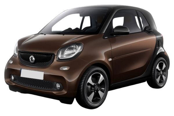 Front and side view of the Smart ForTwo - available for bad credit car lease