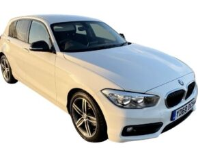 In Stock BMW 118i Sport White 68 Reg - Front and Side View