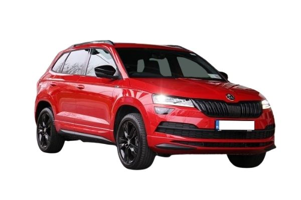 Front and side view of the Skoda Karoq which is available for bad credit car lease