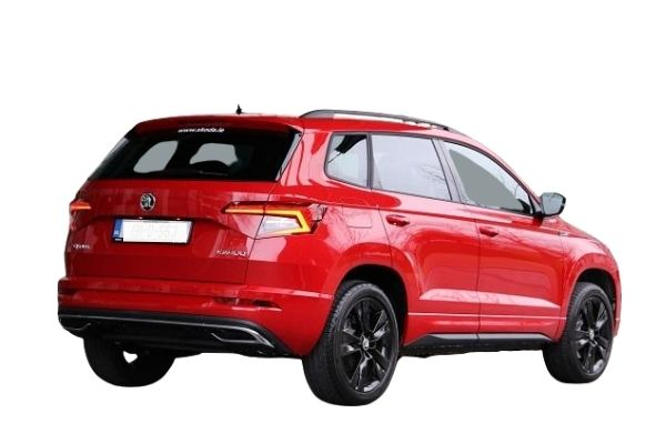 Rear and side view of the Skoda Karoq which is available for bad credit car lease